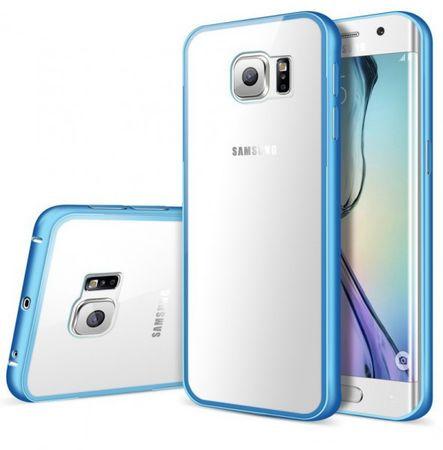 Samsung Galaxy S7 Edge Alu-Bumper mit Acrylglas-Rücken Case Hülle BLAU HELLBLAU – Bild 1