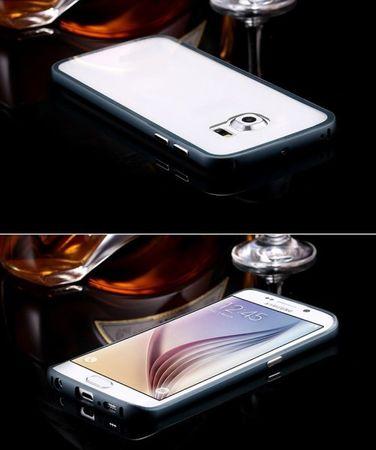 Samsung Galaxy S7 Edge Alu-Bumper mit Acrylglas-Rücken Case Hülle BLAU DUNKELBLAU – Bild 2