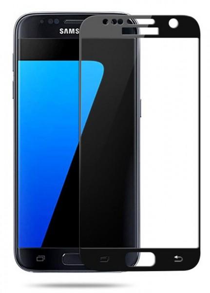 Samsung Galaxy S7 Randlos Full Screen Panzerglas Glas Schwarz