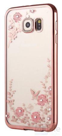 Samsung Galaxy S7 Glitzer Blumen Case Gummi TPU Hülle Clear Klar PINK ROSA – Bild 2