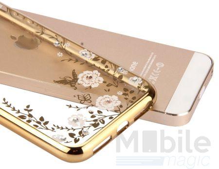 iPhone SE / 5S / 5 Edles Glitzer Blumen Gummi TPU Case Hülle GOLD – Bild 2