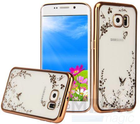 Samsung Galaxy S7 Glitzer Blumen Case Gummi TPU Hülle Clear Klar GOLD – Bild 1
