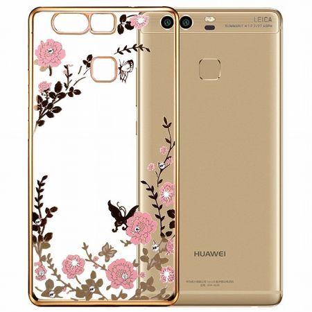 Huawei P9 Plus Glitzer Hülle Blumen Gummi TPU Silikon Case GOLD – Bild 1