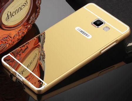 Samsung Galaxy J5 2017 Alu-Bumper Mirror mit Spiegel-Rücken Metall Bumper Case Hülle Aluminium GOLD – Bild 1