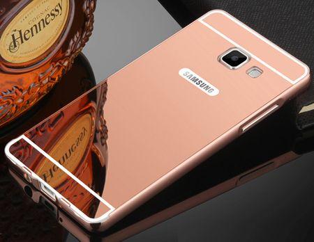 Samsung Galaxy J5 2017 Alu-Bumper Mirror mit Spiegel-Rücken Metall Bumper Case Hülle Aluminium ROSÉGOLD – Bild 1