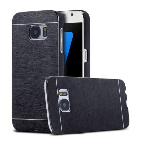 Samsung Galaxy J5 2017 Aluminium Metall Brushed Hard Case Cover Hülle SCHWARZ – Bild 1