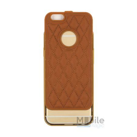 iPhone SE / 5S / 5 Alu-Bumper Leder-Rücken Metall Bumper Case Hülle Aluminium BRAUN – Bild 3