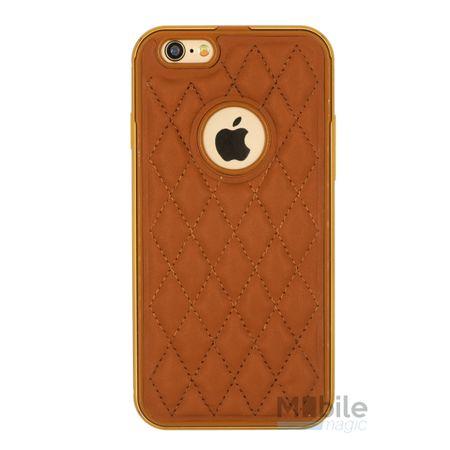 iPhone SE / 5S / 5 Alu-Bumper Leder-Rücken Metall Bumper Case Hülle Aluminium BRAUN – Bild 1