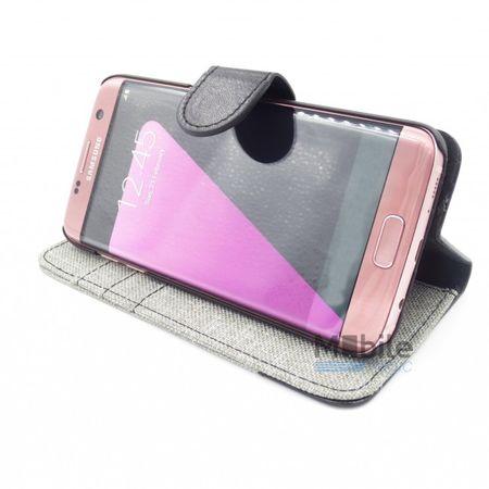Samsung Galaxy J3 2017 Stoff Leder Hülle Etui Flipcase Cover Case Tasche Canvas Kartenfach GRAU – Bild 5