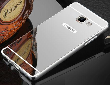 Samsung Galaxy J3 2017 Alu-Bumper Mirror mit Spiegel-Rücken Metall Bumper Case Hülle Aluminium SILBER – Bild 1