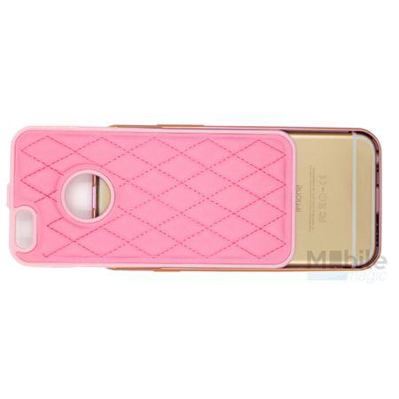 iPhone SE / 5S / 5 Alu-Bumper Leder-Rücken Metall Bumper Case Hülle Aluminium PINK / ROSA – Bild 3