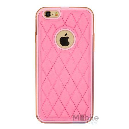 iPhone SE / 5S / 5 Alu-Bumper Leder-Rücken Metall Bumper Case Hülle Aluminium PINK / ROSA – Bild 1