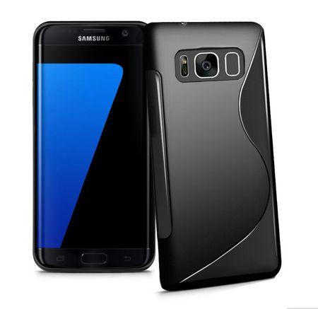Samsung Galaxy J3 2017 S-Line TPU Gummi Silikon Case Welle Hülle SCHWARZ