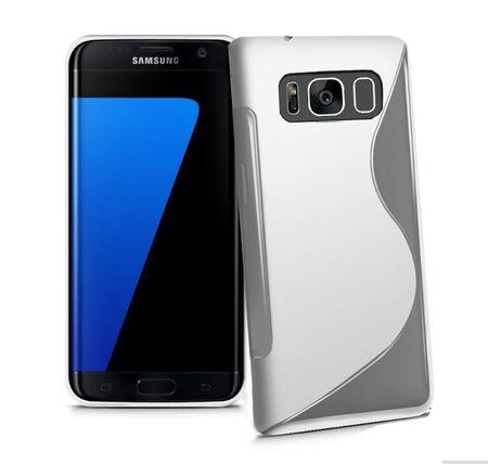 Samsung Galaxy J3 2017 S-Line TPU Gummi Silikon Case Welle Hülle TRANSPARENT
