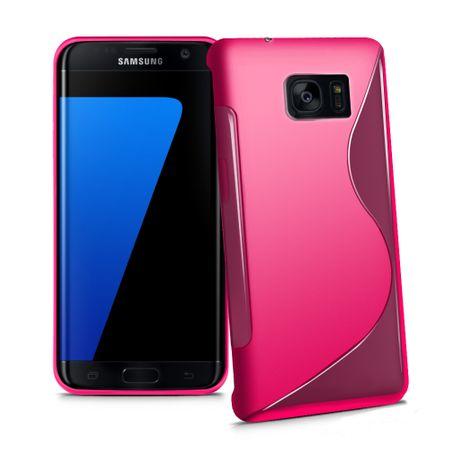 Samsung Galaxy J3 2017 S-Line TPU Gummi Silikon Case Welle Hülle PINK / ROSA