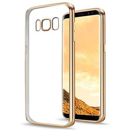 Samsung Galaxy J3 2017 Metallic Gummi TPU Silikon Case Hülle Schutzhülle Cover Klar GOLD – Bild 1
