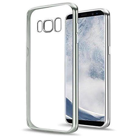 Samsung Galaxy J3 2017 Metallic Gummi TPU Silikon Case Hülle Schutzhülle Cover Klar SILBER – Bild 1