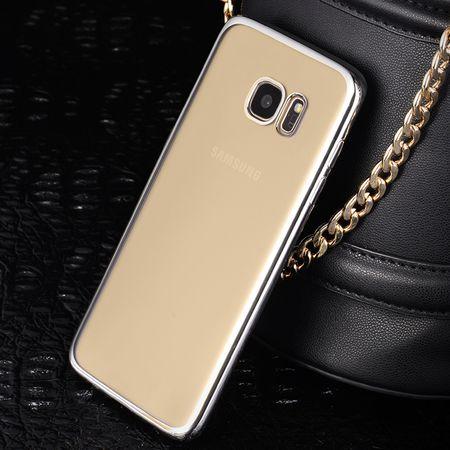Samsung Galaxy J3 2017 Metallic Gummi TPU Silikon Case Hülle Schutzhülle Cover Klar SILBER – Bild 4