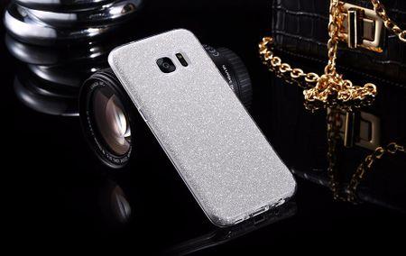 Samsung Galaxy J3 2017 Glitzer Hülle Gummi TPU Klar Silikon Crystal Clear Case SILBER – Bild 1