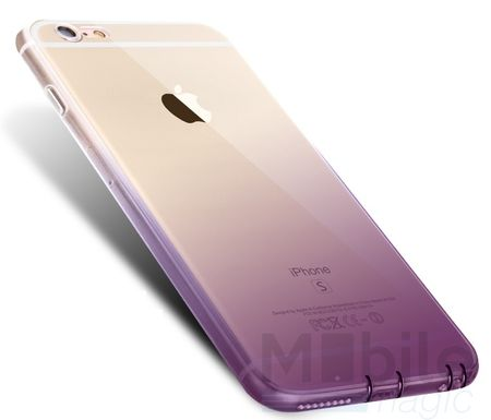iPhone 6S Plus / 6 Plus Gummi TPU Silikon Clear Case Hülle Klar LILA VIOLETT TRANSPARENT – Bild 2