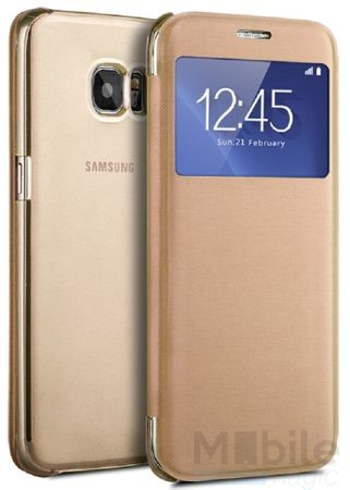 Samsung Galaxy S7 Edge Window View Cover Etui Fenster Tasche GOLD – Bild 1