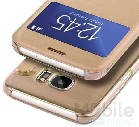 Samsung Galaxy S7 Edge Window View Cover Etui Fenster Tasche GOLD – Bild 2
