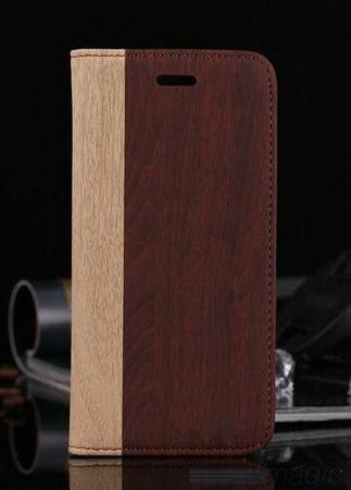 iPhone 6S Plus / 6 Plus Holz Wood Design Etui Tasche BRAUN – Bild 1