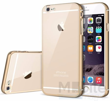 iPhone 6S Plus / 6 Plus Alu-Bumper Metall Bumper Case mit Acrylglas-Rücken Cover Hülle GOLD – Bild 1