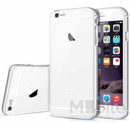 iPhone 6S Plus / 6 Plus Alu-Bumper Metall Bumper Case mit Acrylglas-Rücken Cover Hülle SILBER – Bild 1
