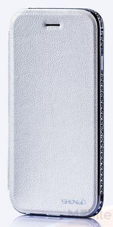 iPhone 6S / 6 Alu-Bumper Leder Metall Flip Etui Farbe WEISS – Bild 3
