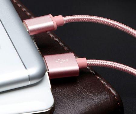 Anki Micro USB Metall Ladekabel Stoff Datenkabel 1m ROSÉGOLD – Bild 6