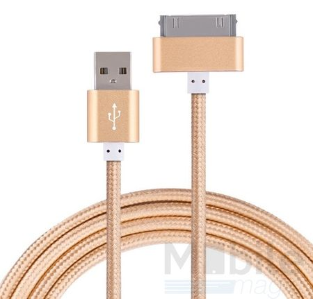 Anki Metall Ladekabel 30-Pin Dock für Apple Geräte Stoff Datenkabel 1m GOLD – Bild 2