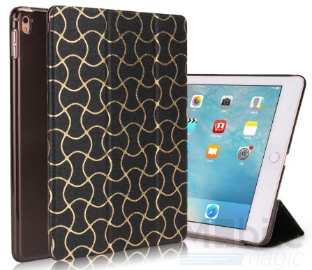 "iPad Pro 12.9"" Smart Luxus Etui Tasche Hülle SCHWARZ – Bild 1"