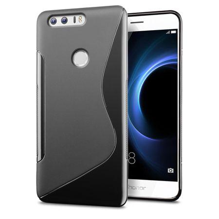 Huawei Y7 Prime S-Line TPU Gummi Silikon Case Welle Hülle SCHWARZ – Bild 1