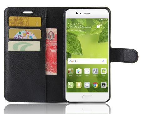LG Q6 + Flip Etui Leder Case Tasche Hülle mit Kartenfach SCHWARZ – Bild 1