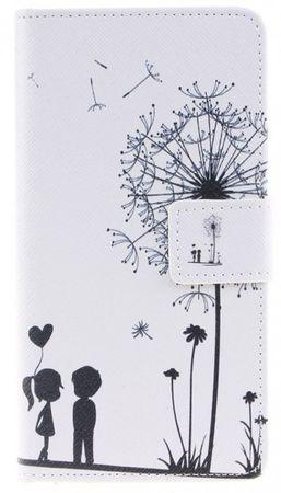 Huawei P9 Pusteblume Junge & Mädchen Leder Etui Tasche Hülle Portemonnaie WEISS – Bild 1