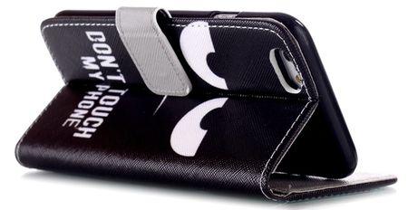 iPhone 6S / 6 DON'T TOUCH MY PHONE Leder Etui Tasche Hülle Portemonnaie SCHWARZ – Bild 2