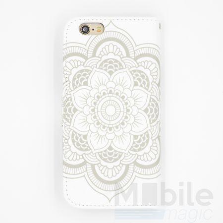 iPhone 6S Plus / 6 Plus Mandala Henna Leder Etui Tasche Hülle Portemonnaie WEISS – Bild 2