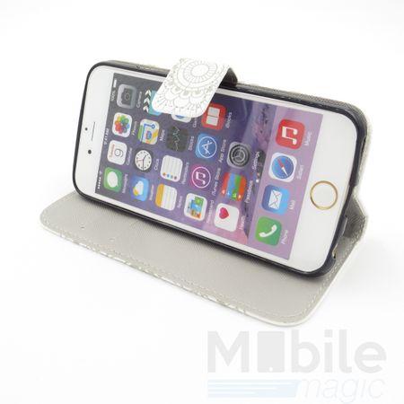 iPhone 6S Plus / 6 Plus Mandala Henna Leder Etui Tasche Hülle Portemonnaie WEISS – Bild 3