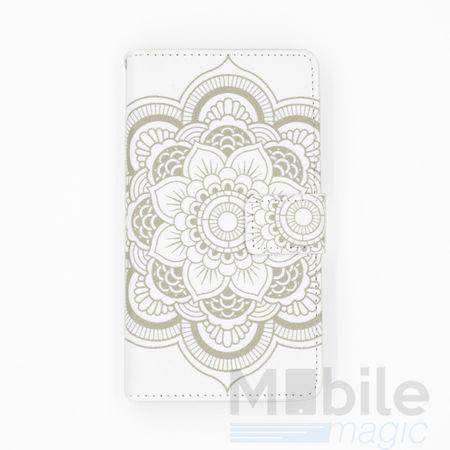 Sony Xperia X Mandala Henna Leder Etui Tasche Hülle Portemonnaie WEISS – Bild 1