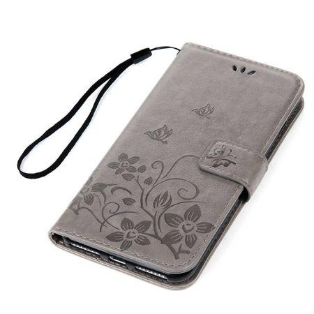 iPhone 8 Leder Etui Blume Schmetterling Hülle Flip Case Cover GRAU – Bild 3