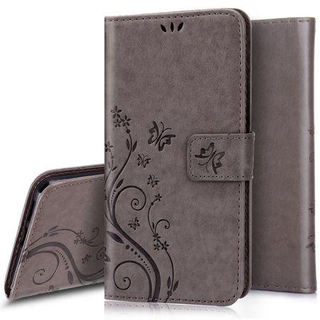 iPhone 8 Leder Etui Blume Schmetterling Hülle Flip Case Cover GRAU – Bild 1