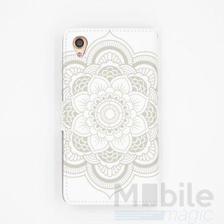 Sony Xperia Z5 Compact Mandala Henna Leder Etui Tasche Hülle Portemonnaie WEISS – Bild 2