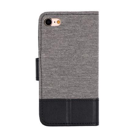 iPhone 8 Stoff Leder Hülle Etui Flipcase Cover Case Tasche Canvas Kartenfach GRAU – Bild 2