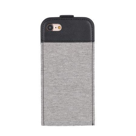 iPhone 8 Vertikal Stoff Leder Hülle Etui Cover Case Tasche Canvas Kartenfach GRAU – Bild 3