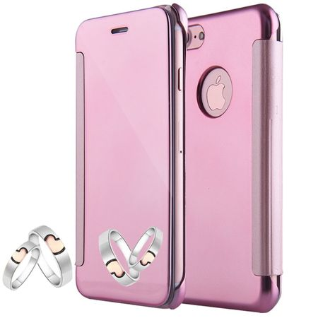iPhone 8 Clear Window View Case Cover Spiegel Mirror Hülle ROSÉGOLD Pink – Bild 1