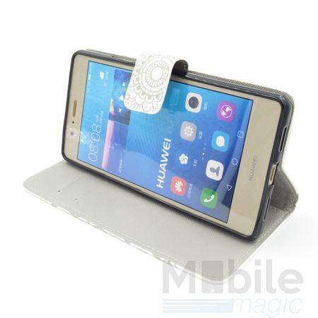 Huawei P9 Lite Mandala Henna Leder Etui Tasche Hülle Portemonnaie WEISS – Bild 3