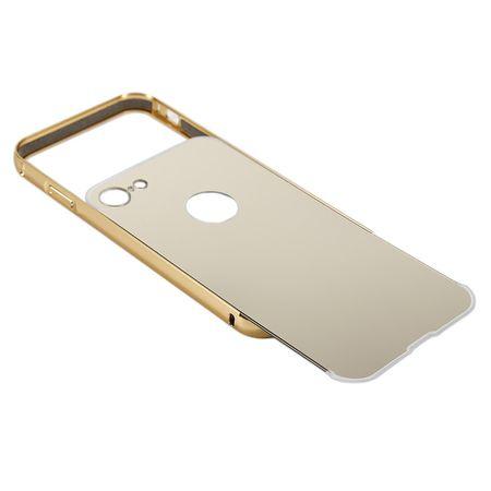 iPhone 8 Alu-Bumper Mirror mit Spiegel-Rücken Metall Bumper Case Hülle Aluminium GOLD – Bild 4