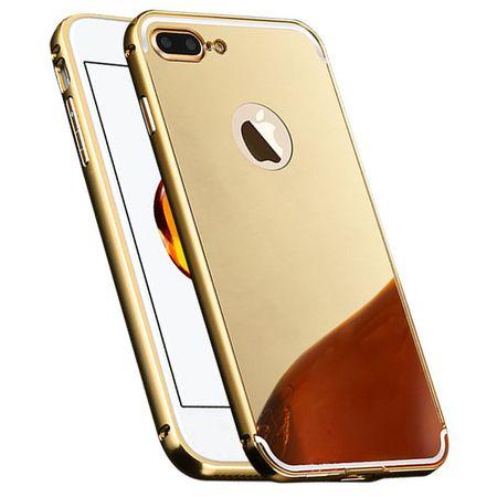 iPhone 8 Alu-Bumper Mirror mit Spiegel-Rücken Metall Bumper Case Hülle Aluminium GOLD – Bild 1