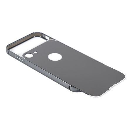 iPhone 8 Alu-Bumper Mirror mit Spiegel-Rücken Metall Bumper Case Hülle Aluminium SCHWARZ – Bild 3